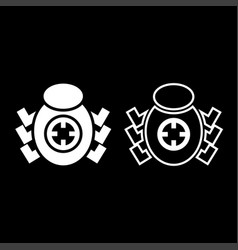 bug beetle in target sight icon set white color vector image