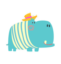 cute cartoon blue hippopotamus in straw hat vector image