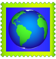 Globe on postage stamp vector image