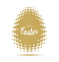 happy easter lettering with gold halftone egg vector image