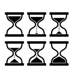 Sand Clock Set Glass Timer on White Background vector image vector image