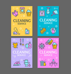 household and cleaning tools flyer banner posters vector image vector image