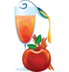 mulled wine apple and cinnamon sticks vector image