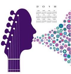 a 2018 calendar with a guitar headstock man vector image vector image