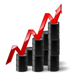 Black metal oil barrel with graph and a red arrow vector