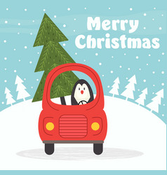 christmas card with penguin in car vector image