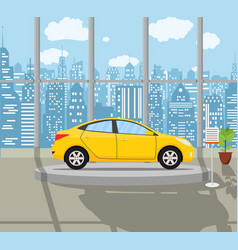 Exhibition pavilion with yellow car vector