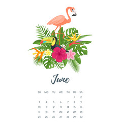 june 2018 year calendar page vector image