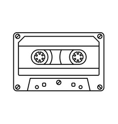 retro cassette icon black line simple isolated vector image vector image
