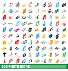 100 photo icons set isometric 3d style vector