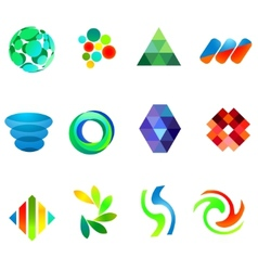 12 colorful symbols set 18 vector image