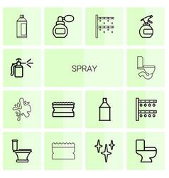 14 spray icons vector