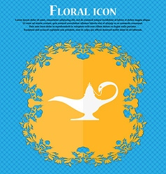Alladin lamp genie icon Floral flat design on a vector