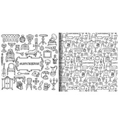 Antiques doodle set and seamless pattern vector
