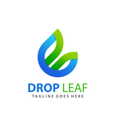 Awesome letter b drop and leaf logo design vector