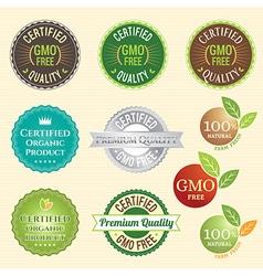 Badge Set of Certified organic Natural Fresh GMO vector