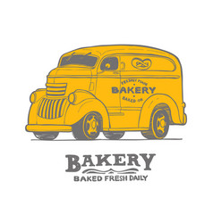Bakery food truck hand draw doodles style van vector