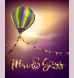 balloon and decoration garland flag for mardi gras vector image