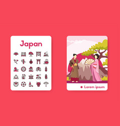 Banner japan with linear icons set vector
