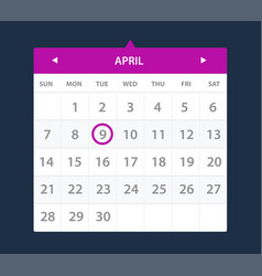 Calendar widget ui interface vector
