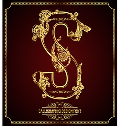 Calligraphic font Letter S vector