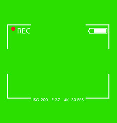 camera frame viewfinder screen on green background vector image