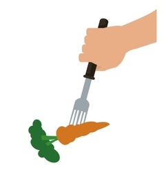 carrot on fork icon vector image