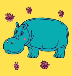 Cartoon animal cute hippo on green backgrounds vector