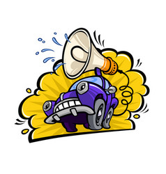 cartoon funny car with a megaphone in a flat vector image