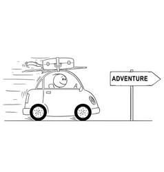 Cartoon of smiling man going in small car on vector