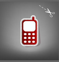 cell phone sign red icon with for vector image