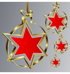Christmas balls with red star vector