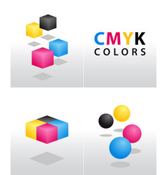 cmyk shapes and colors vector image