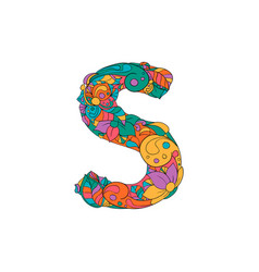 Colorful ornamental alphabet letter s font vector