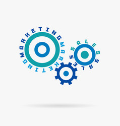 connected cogwheels marketing sales words vector image