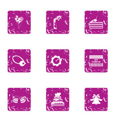 Corpse party icons set grunge style vector
