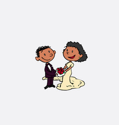 Couple of black newlyweds posing happy isolated vector