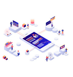 data visualization 3d isometric concept people vector image