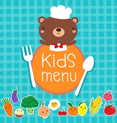 Design of kids menu with cute bear chef vector