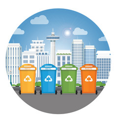 different colors recycle garbage bins vector image