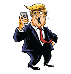 Donald trump and social media update vector