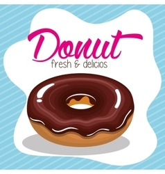 Donut cream chocolate fresh and delicious graphic vector