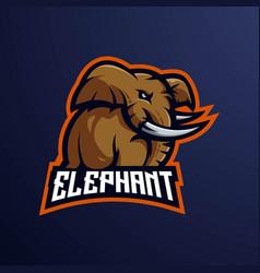 Elephant e-sport mascot logo design vector
