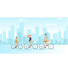 family on bicycles on big vector image