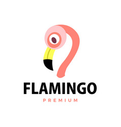 flamingo flat logo icon vector image