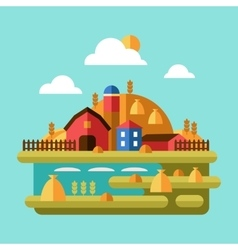 Flat Design of Farm Landscape vector