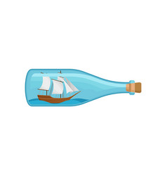 flat icon of glass bottle with sea ship and vector image