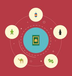 flat icons malay islamic lamp dromedary and vector image