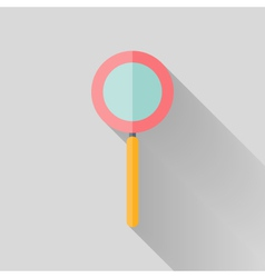 Flat loupe icon over grey vector