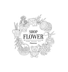 Flower shop vintage sketch vector